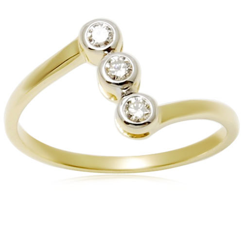 18k Yellow Gold Ring Bezel Setting Diamond Ring