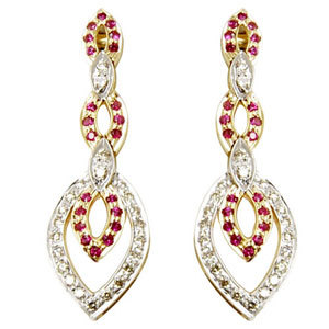 gold diamond earrings 2 tone earrings in gold ruby
