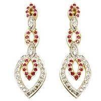 gold diamond earrings 2 tone earrings in gold ruby