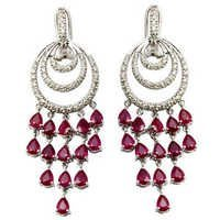 white gold earring chandelier earrings Ruby chand