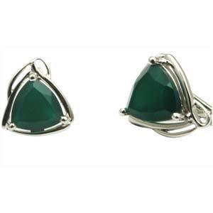 Green Agate Earrings Silver Earring in Agate triangle earring with agate
