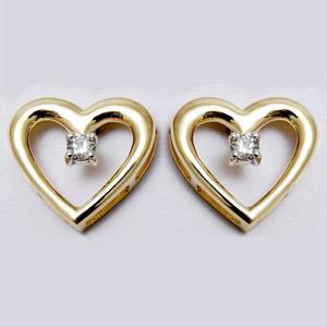 Baby earrings jewelry, Heart Earrings Diamond gold