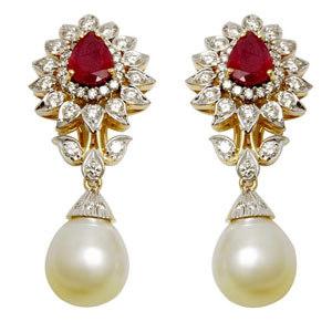 pearl earring wedding earrings pearl ruby diamond gold earring