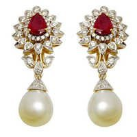 pearl earring wedding earrings pearl ruby diamond gold earring