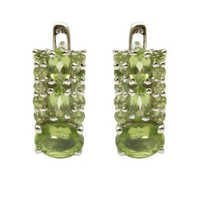 oval and round earring  peridot silver earrings
