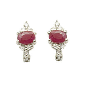 cz earring with ruby silver, Ruby silver earring