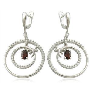 wholesale earring Big Hoop Earrings Garnet CZ silver Earring
