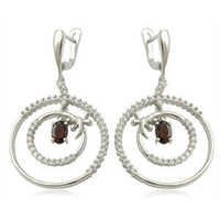 wholesale earring Big Hoop Earrings Garnet CZ silver Earring