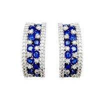 Designer diamond and blue sapphire white gold earrings
