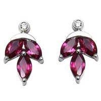 ruby leaf earrings for cute girls in white gold