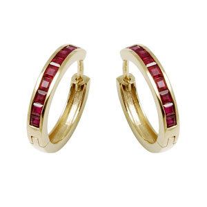 princess ruby yellow gold earrings hoops
