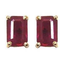 ruby octagon gold earring, studs earrings