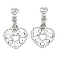 designer heart earring in 18k white gold