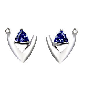 small tanzanite and diamond earrings tops for evening wear