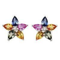 multi sapphire flower earrings in 18k gold for women