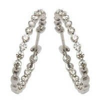designer diamond hoops in 14k white gold for girls
