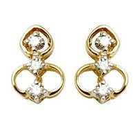 small diamond yellow gold earring design for dailywear