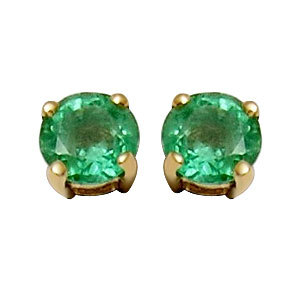 Round emerald studs in 18karat yellow gold for women and girls