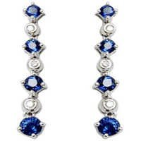 long hanging earring in sapphire and diamond in bezel setting