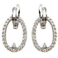 oval shaped hoop diamond earrings