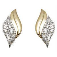 leaf pattern gold earring studded with small diamonds