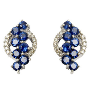sapphire earring design with diamond roundals at back