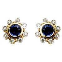 Bezel Setting Earring for Girls, Sapphire Earring Jewelry, diamond sapphire earrings