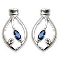 leaf gold earring in sapphire and diamond, marquise sapphire earrings