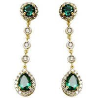 long drop earrings in diamond and emerald hydro