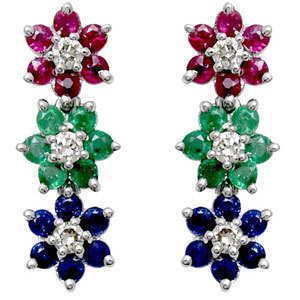 multicolored gemstone flower diamond gold earring with emerald ruby and sapphire