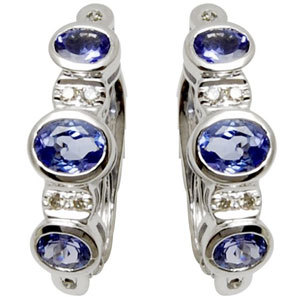 hoop styled tanzanite and diamond earring design