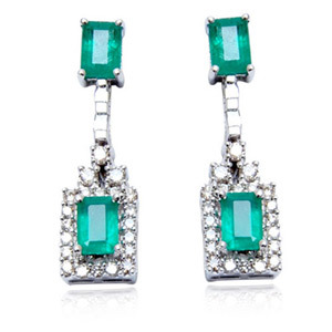 octagon shaped genuine green emerald and diamonds hanging gold earrings for women