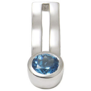 Customizable genuine Blue Topaz Pendant in Silver
