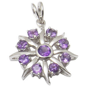 mens round pendant amethyst designer silver pendant