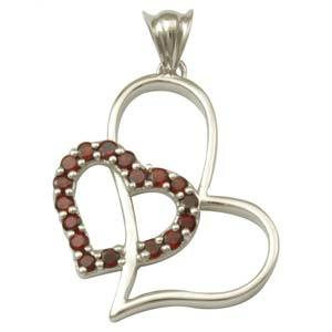 sterling silver heart pendant garnet love pendant shows strong bond