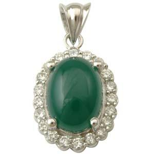 American Diamond CZ studded silver pendant with Green Agate directly from manufacturer