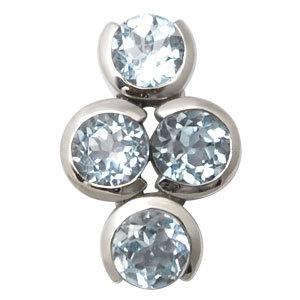 Designer blue topaz silver pendant round stone pendant design