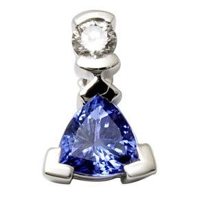 18k white gold pendant diamond and tanzanite