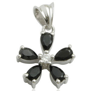 pear shaped black onyx in prong setting with cz in this inexpensive silver flower pendant