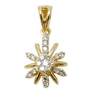 Inspired by sun this genuine diamond pendant in 18k yellow gold is for every one