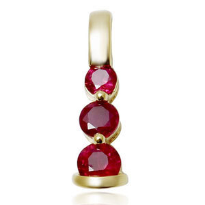 three stone genuine natural ruby pendant design in 14k yellow gold