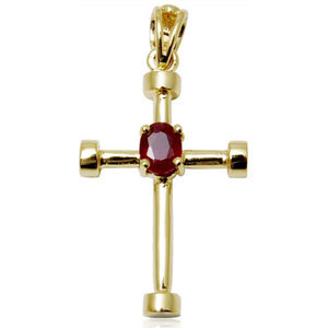 Cheap cross pendant in 18k  yellow gold with ruby centre stone for all aged peoples