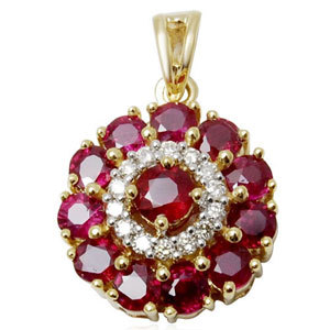 small round rubies and diamond in this traditional look circular pendant in gold