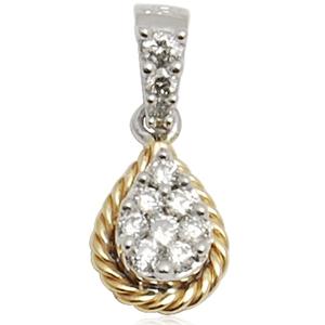 yellow gold veni and pressure set diamond in pear shape in this small diamond white gold pendant