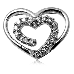 Designer twin heart pendant design in 14k white gold