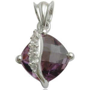 brazil amethyst square cushion brio setted with cz in silver pendant for daily wear