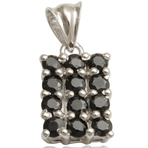 small black onyx round stones setting in rectangular pendant in silver 925