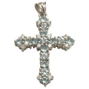 925 silver designer blue stone cross pendant