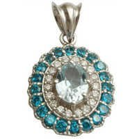 sky blue topaz oval and swiss blue topaz round with cz studded pendant