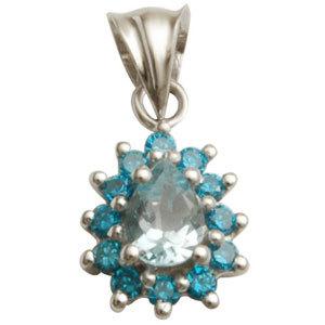 genuine blue topaz pendant in light and dark stone shade